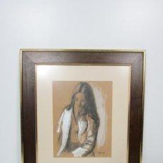 Arte: FEDERIC LLOVERAS HERRERA (BARCELONA 1912-1983) - RETRATO - DIBUJO AL PASTEL - AÑO 1978. Lote 192460255