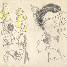 Arte: JORDI ALUMÀ. DIBUJO A LÁPIZ Y COLOR FIRMADO A MANO DESNUDO FEMENINO. 15X27 CM.. Lote 192461535