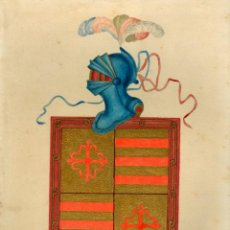 Arte: HERÁLDICA - ESCUDO HERÁLDICO DEL APELLIDO MUÑOZ - GOUACHE. Lote 192498511