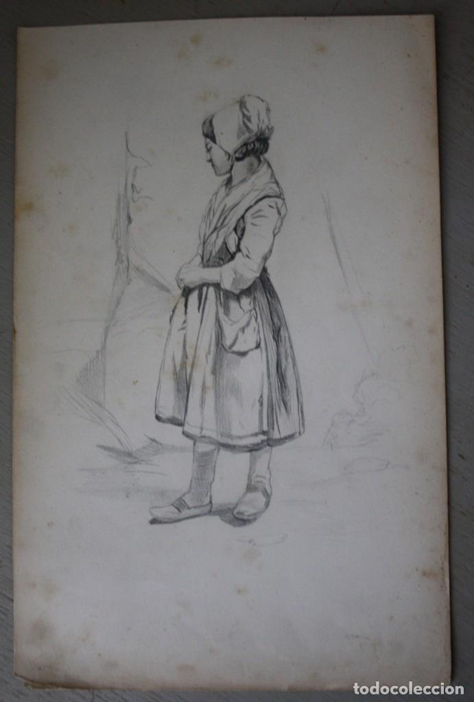 BOCETO ORIGINAL DE JOAQUÍN AGRASOT, ORHUELA, 24-12-1836 VALENCIA 8-01-1914 PROCEDENCIA FAMILIAR (Arte - Dibujos - Modernos siglo XIX)