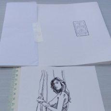 Arte: DIBUJO ARTÍSTICO TINTA CHINÁ 20X14 APROX MUJER CHICA POSADO DESNUDO ARTÍSTICO AUTOR PATXI ORTIZ. Lote 192715996