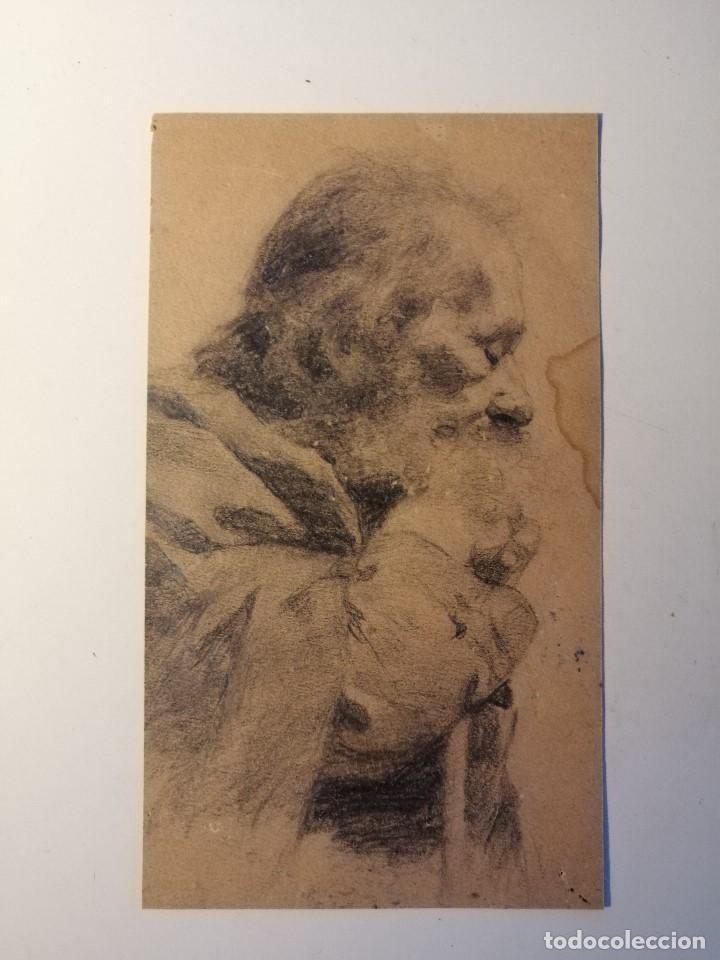 RETRATO DE UN ANCIANO MONJE ADORMILADO SOBRE SU BASTÓN. LAPIZ SOBRE PAPEL S.XIX (Arte - Dibujos - Modernos siglo XIX)