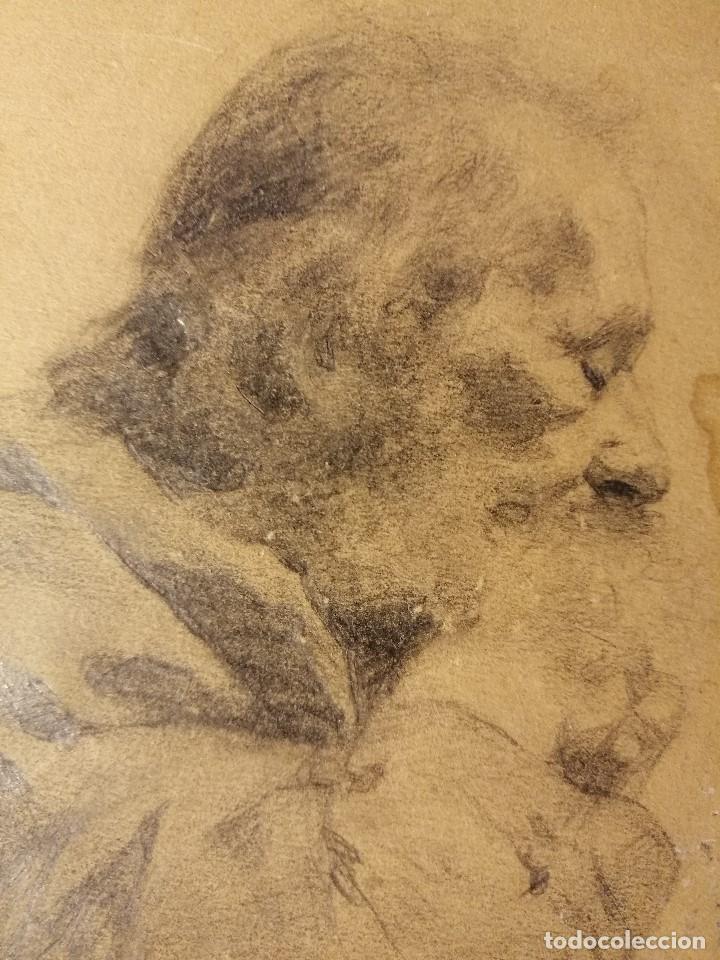 Arte: Retrato de un anciano monje adormilado sobre su bastón. Lapiz sobre papel S.XIX - Foto 2 - 192791996