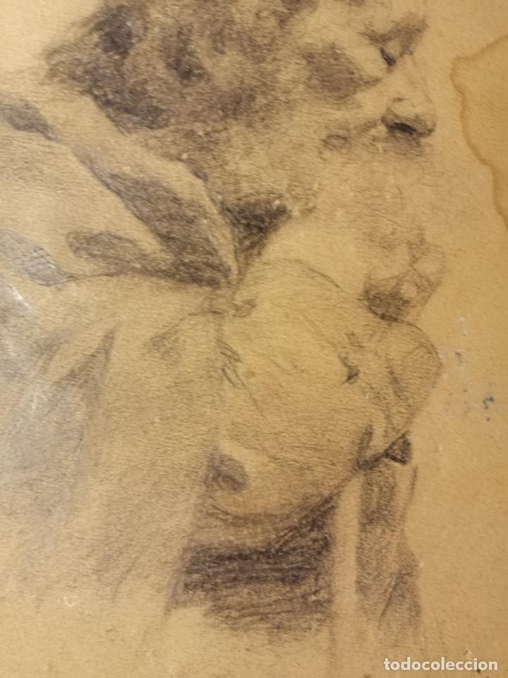Arte: Retrato de un anciano monje adormilado sobre su bastón. Lapiz sobre papel S.XIX - Foto 3 - 192791996