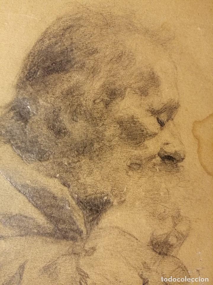 Arte: Retrato de un anciano monje adormilado sobre su bastón. Lapiz sobre papel S.XIX - Foto 4 - 192791996