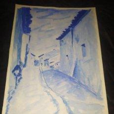 Arte: DIBUJO EN PAPEL CALLE J. R. 1991? PRECIOSO AZUL. Lote 192919881