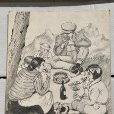 Arte: JOSEP SERRA MASSANA - COMIDA CAMPESTRE. DIBUJO ORIGINAL 42 X 32 CM FIRMADO.. Lote 192929180