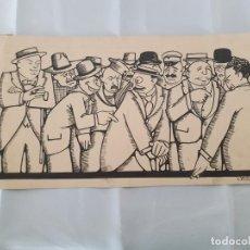 Arte: LUIS MACAYA - 1888 . 1953 - DIBUJO A TINTA - MULTITUD PERSONAJES.. Lote 192994940