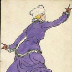 Arte: GABY. ILUSTRACIÓN MODA FRANCESA A TINTA Y ACUARELA. MAGALI DE MONTREDON. ART NOUVEAU. 1916. FIRMADO.. Lote 193019032