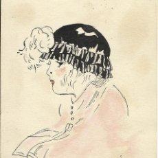 Arte: A. J. ILUSTRACIÓN MODA FRANCESA A TINTA Y ACUARELA. MADAME BOYER. SOMBRERO CLOCHÉ. 1916. FIRMADO.. Lote 193020026