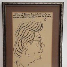 Arte: DIBUJO ORIGINAL CON DEDICATORIA, DEL DIBUJANTE HUMORISTA PAÑELLA, (34X20). Lote 193253908