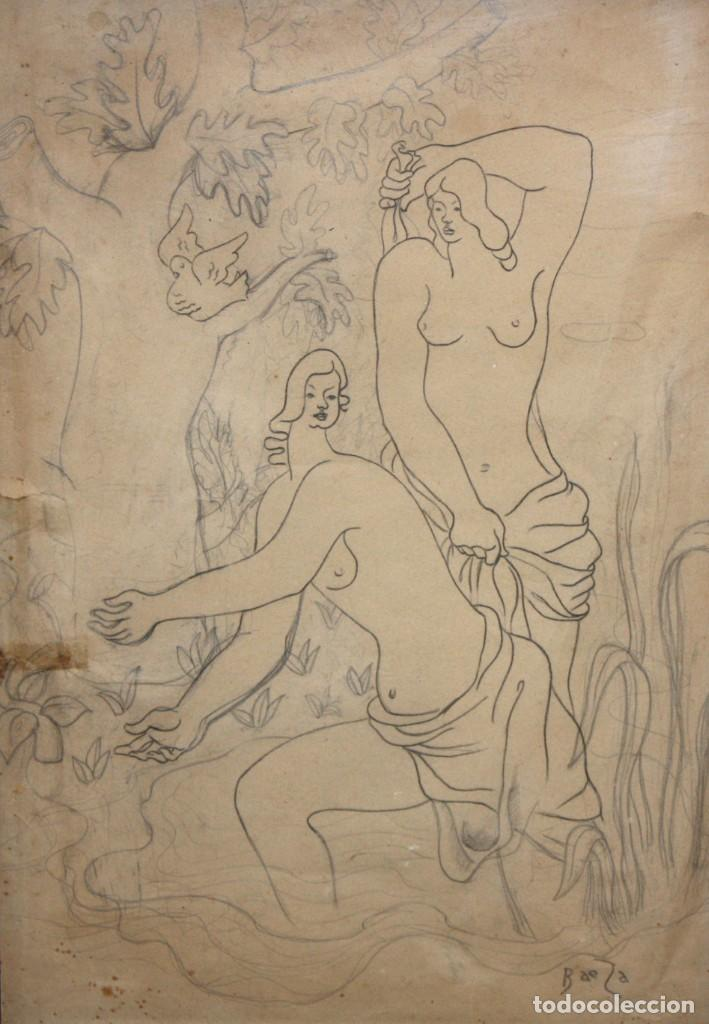 MANUEL GOMEZ BAEZA (ALICANTE, 1911 - 1986) DIBUJO A LAPIZ FIRMADO. COMPOSICION CON PERSONAJES (Arte - Dibujos - Contemporáneos siglo XX)