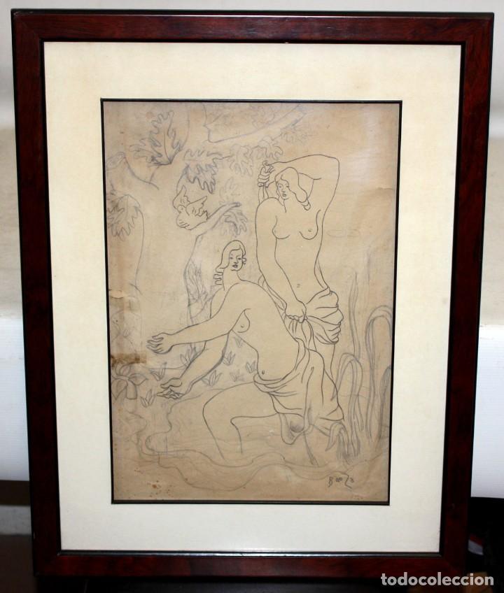 Arte: MANUEL GOMEZ BAEZA (Alicante, 1911 - 1986) DIBUJO A LAPIZ FIRMADO. COMPOSICION CON PERSONAJES - Foto 2 - 193584276