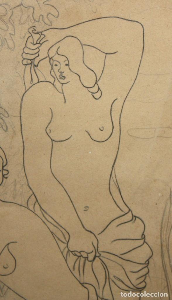 Arte: MANUEL GOMEZ BAEZA (Alicante, 1911 - 1986) DIBUJO A LAPIZ FIRMADO. COMPOSICION CON PERSONAJES - Foto 5 - 193584276
