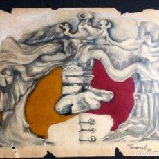 Arte: DIBUJO EXPRESIONISTA TECNICA MIXTA FIRMADO PERECOLL 50X38 CM. Lote 193726356