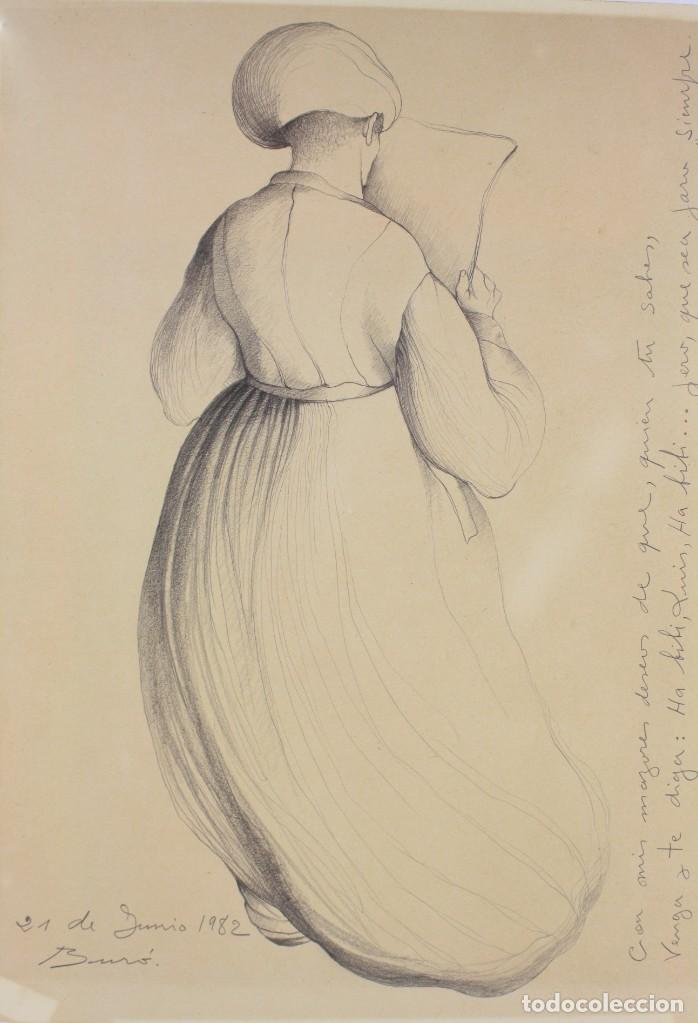 Arte: Carles Buró, personaje, 1982, dibujo sobre papel, firmado y dedicado. 35x25,5cm - Foto 2 - 193882557