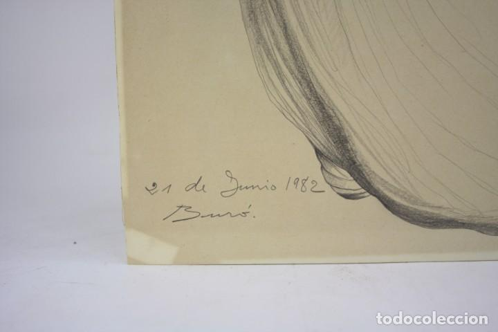 Arte: Carles Buró, personaje, 1982, dibujo sobre papel, firmado y dedicado. 35x25,5cm - Foto 3 - 193882557