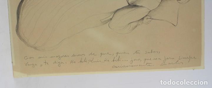 Arte: Carles Buró, personaje, 1982, dibujo sobre papel, firmado y dedicado. 35x25,5cm - Foto 4 - 193882557