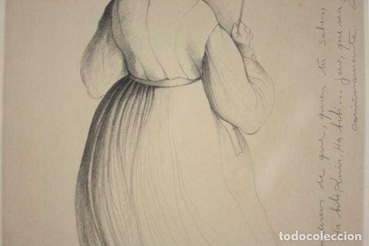 Arte: Carles Buró, personaje, 1982, dibujo sobre papel, firmado y dedicado. 35x25,5cm - Foto 6 - 193882557