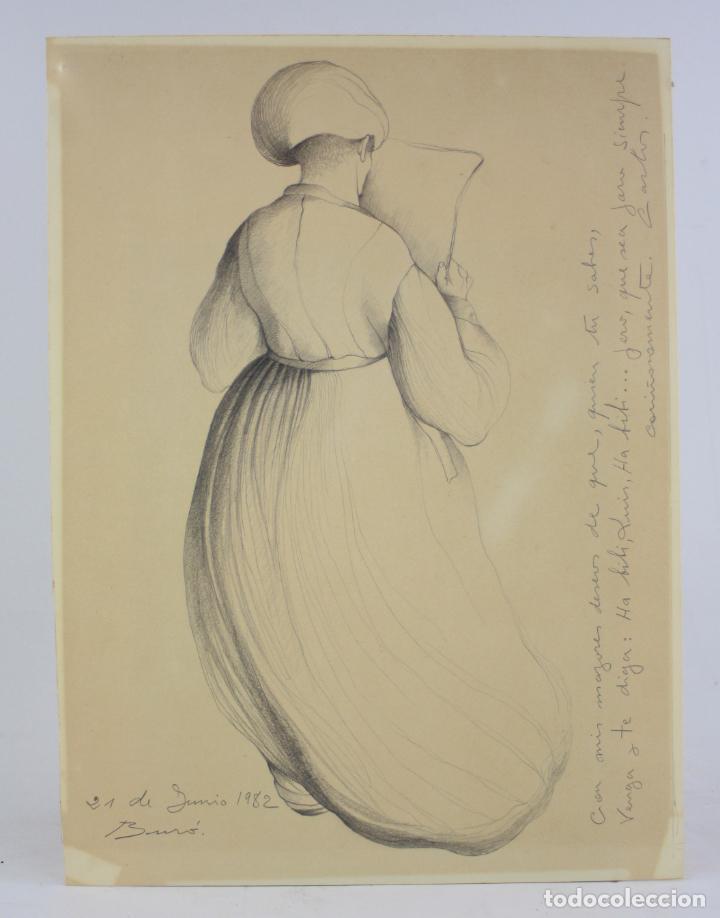 CARLES BURÓ, PERSONAJE, 1982, DIBUJO SOBRE PAPEL, FIRMADO Y DEDICADO. 35X25,5CM (Arte - Dibujos - Contemporáneos siglo XX)