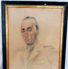 Arte: DIBUJO MONTSERRAT BARTA - RETRATO DE SU MARIDO DEDICADO (BARCELONA 1943). Lote 193996198