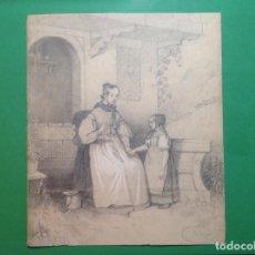Arte: FRANCISCO JAVIER ORTEGO. MADRE Y NIÑA.. Lote 194098907