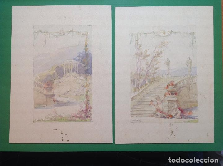 ÁNGEL ANDRADE. VISTAS DE LOS JARDINES DE UN PALACETE. (Arte - Dibujos - Modernos siglo XIX)