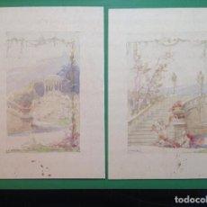 Arte: ÁNGEL ANDRADE. VISTAS DE LOS JARDINES DE UN PALACETE.. Lote 194098978