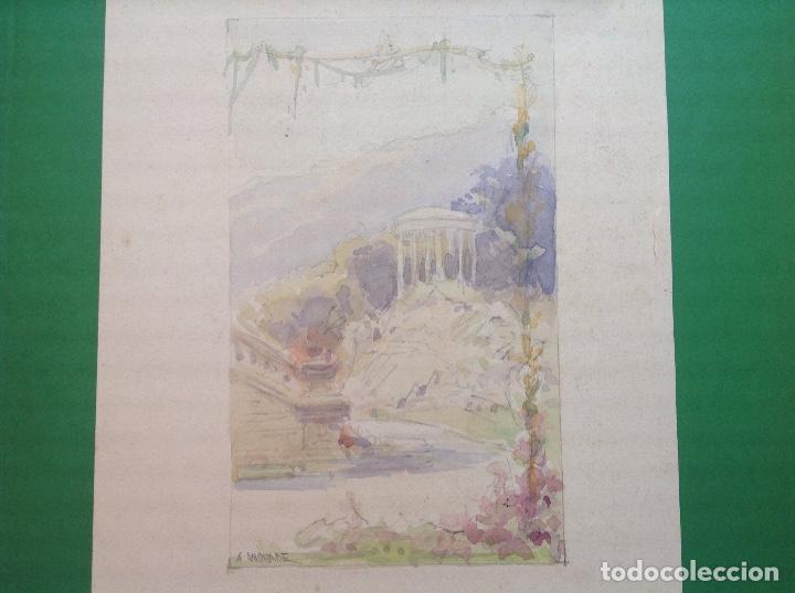 Arte: Ángel Andrade. Vistas de los jardines de un palacete. - Foto 2 - 194098978