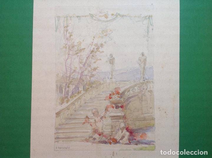 Arte: Ángel Andrade. Vistas de los jardines de un palacete. - Foto 3 - 194098978