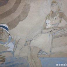 Arte: RICARD OPISSO - EL TOLDO - 1922 - TECNICA MIXTA - 21 X 26 CM.. Lote 194137873