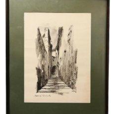 Arte: NUMULITE * CUADRO ACUARELA CARRER DE L'ESCOLA PIA PRIOR GERONA GIRONA MEDIDAS 49,5 X 40 CON MARCO. Lote 194193378