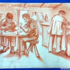 Arte: ANTIGUO DIBUJO A SANGUINA. TABERNA. BAR. Lote 194197802