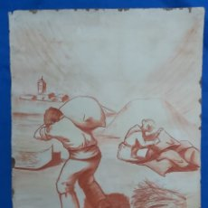Arte: ANTIGUO DIBUJO A SANGUINA. CAMPESINOS. Lote 194197880