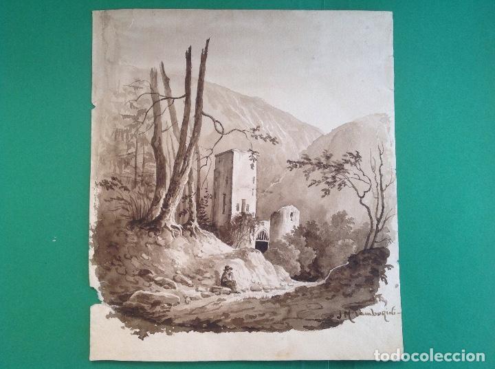 JOSÉ MARÍA TAMBURINI. PAISAJE. (Arte - Dibujos - Modernos siglo XIX)