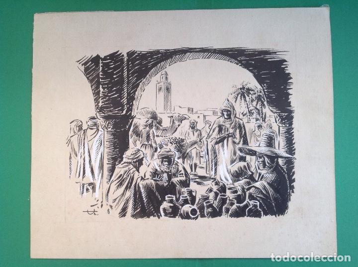 ANÓNIMO. MERCADO ARABE. (Arte - Dibujos - Modernos siglo XIX)