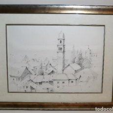 Arte: DIBUJO LAPIZ CARBONCILLO - FIRMADO A IDENTIFICAR- ITALIA. Lote 194224873