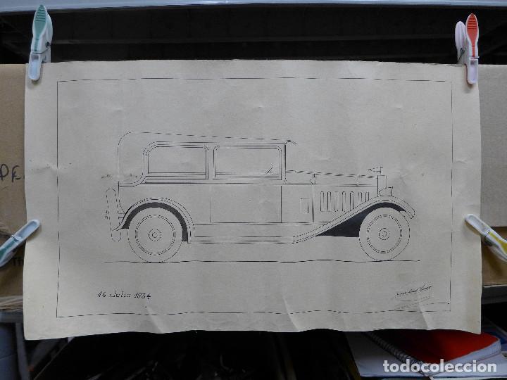 DIBUJO DE UN COCHE DE LOS AÑOS 30 FIRMADO POR JOSE LEAL FRANCO EL 16 DE JULIO DE 1934 (Arte - Dibujos - Contemporáneos siglo XX)