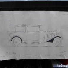 Arte: DIBUJO DE UN COCHE DE LOS AÑOS 30 FIRMADO POR JOSE LEAL FRANCO EL 16 DE JULIO DE 1934. Lote 194246112