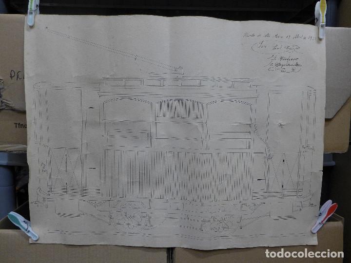 DIBUJO DE UN VAGON DE TREN FIRMADO POR JOSE LEAL FRANCO Y EL PROFESOR E. HERNANDEZ EL 17 ABRIL 1932 (Arte - Dibujos - Contemporáneos siglo XX)