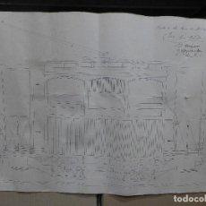 Arte: DIBUJO DE UN VAGON DE TREN FIRMADO POR JOSE LEAL FRANCO Y EL PROFESOR E. HERNANDEZ EL 17 ABRIL 1932. Lote 194247253