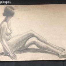 Arte: DIBUJO A LÁPIZ DESNUDO FEMENINO 1920'S. ANÓNIMO. . Lote 194270060