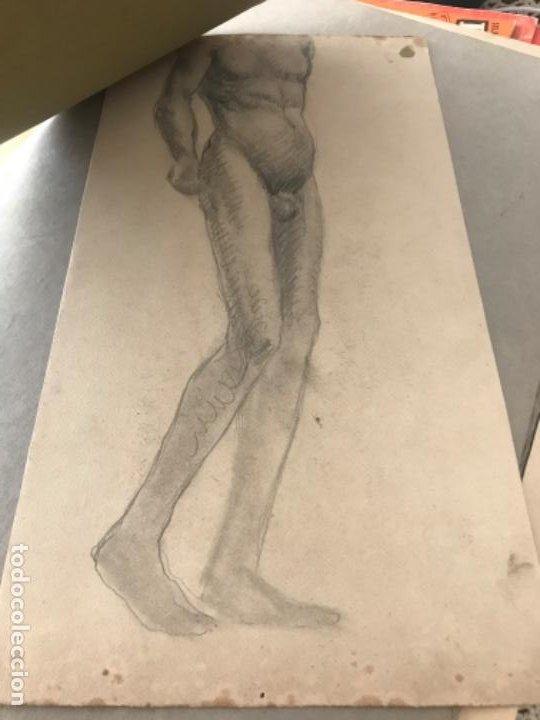 Arte: DOBLE DIBUJO A LÁPIZ TORSO MASCULINO 1920'S. ANÓNIMO. - Foto 3 - 194273103