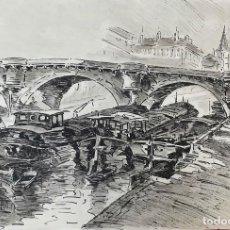 Arte: BARCAS EN EL RÍO. DIBUJO A TINTA SOBRE PAPEL. FIRMADO A. GUERIN. CIRCA 1940. . Lote 194290660