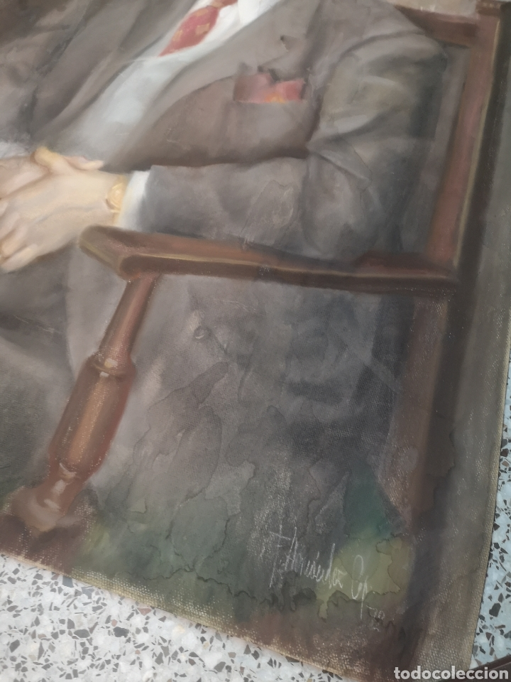 Arte: Francisco Hernandez, retrato de caballero a pastel, grandes dimensiones, 109x74cm. - Foto 3 - 194315557