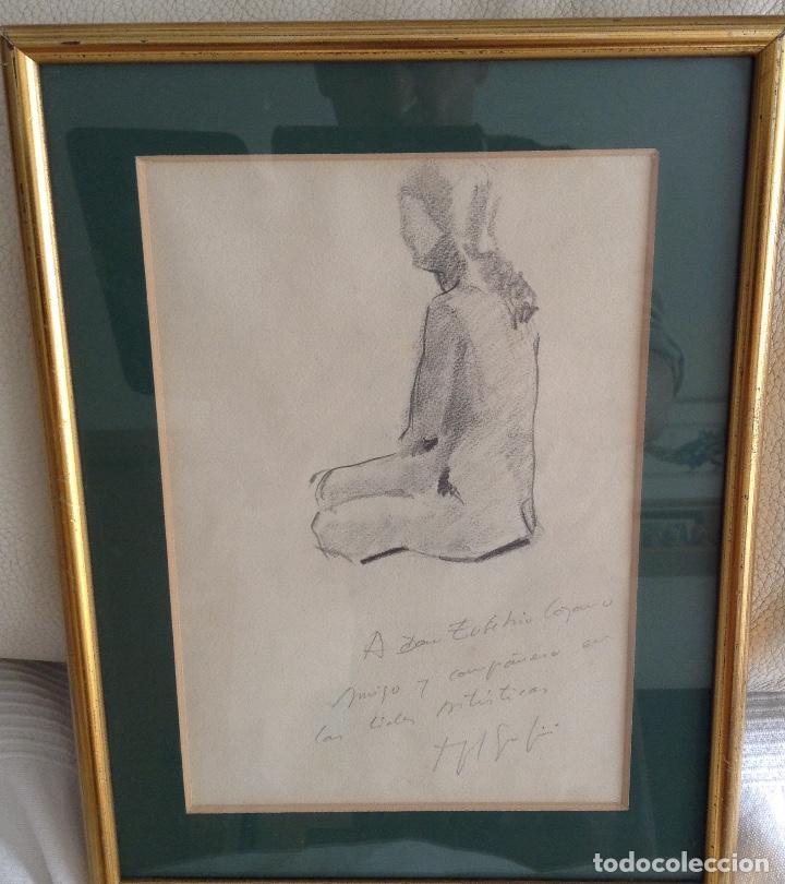 FIRMA ILEGIBLE DOS DIBJOS UNO EN CADA CARA DEL PAPEL ENMARCADO MEDIDAS CON 32 X 25 CM (Arte - Dibujos - Contemporáneos siglo XX)