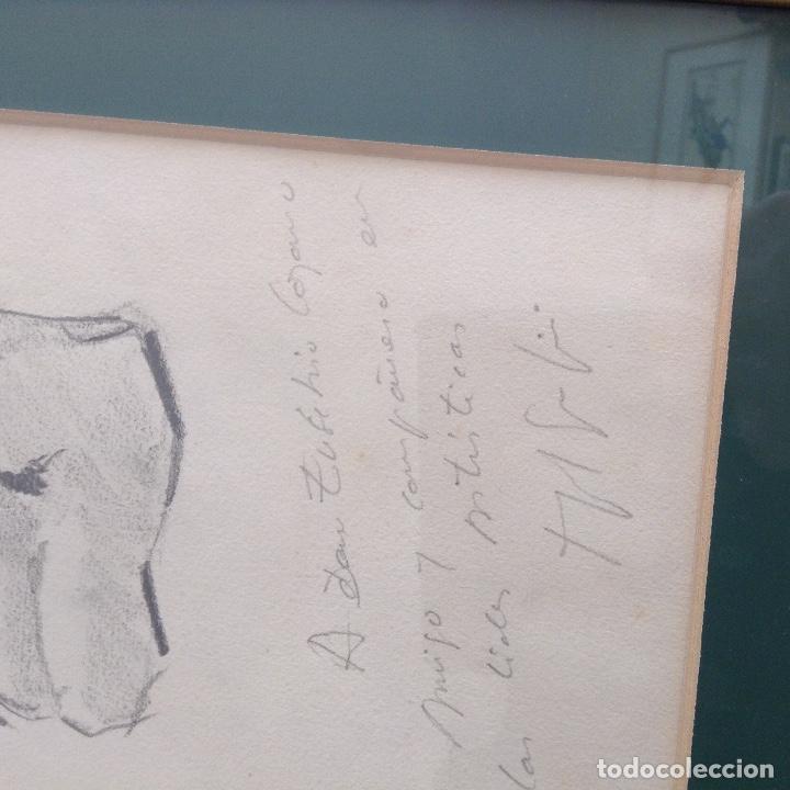 Arte: FIRMA ILEGIBLE DOS DIBJOS UNO EN CADA CARA DEL PAPEL ENMARCADO MEDIDAS CON 32 x 25 cm - Foto 2 - 194317156