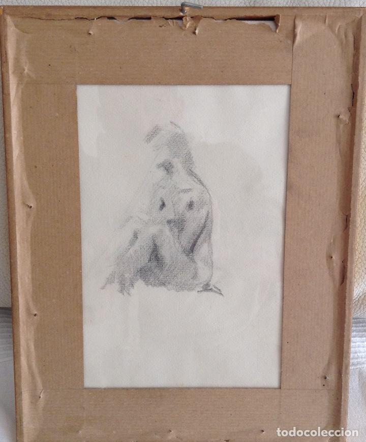 Arte: FIRMA ILEGIBLE DOS DIBJOS UNO EN CADA CARA DEL PAPEL ENMARCADO MEDIDAS CON 32 x 25 cm - Foto 3 - 194317156