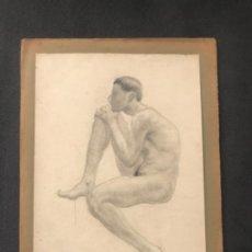 Arte: DIBUJO A LÁPIZ TORSO MASCULINO 1920'S. ANÓNIMO. . Lote 194362098