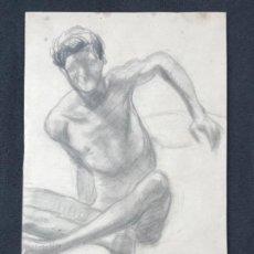 Arte: DIBUJO A LÁPIZ TORSO MASCULINO 1920'S. ANÓNIMO. . Lote 194363095